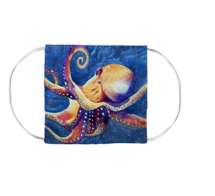 Octopus Wildlife Watercolour Painting - Washable Reusable Fabric Face Mask
