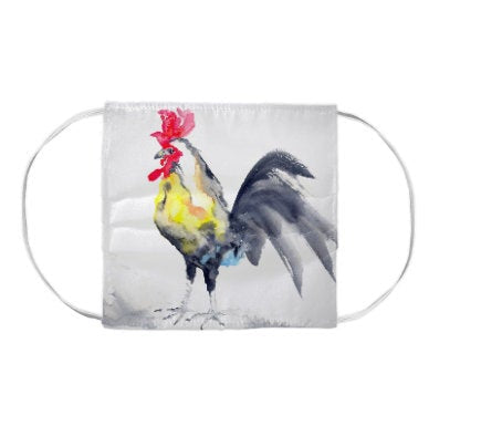 Rooster Farm Bird Watercolour Painting - Washable Reusable Fabric Face Mask