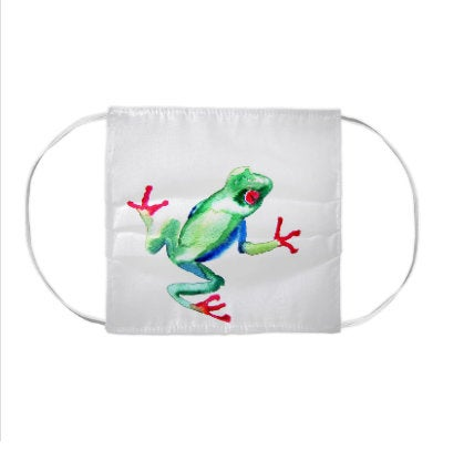 Tree Frog Wildlife Watercolour Painting - Washable Reusable Fabric Face Mask