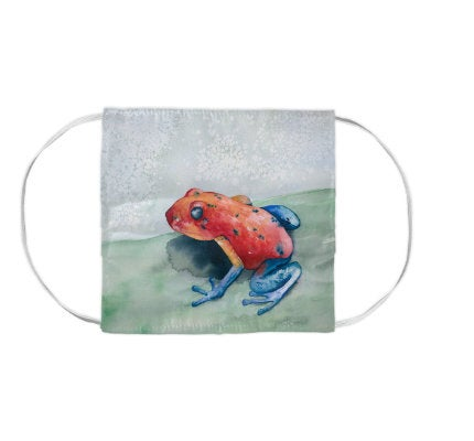 Blue Jean Frog Wildlife Watercolour Painting - Washable Reusable Fabric Face Mask