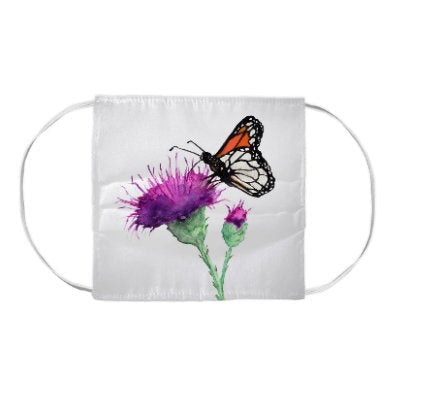 Monarch Butterfly and Coneflower Floral Watercolour Painting - Washable Reusable Fabric Face Mask