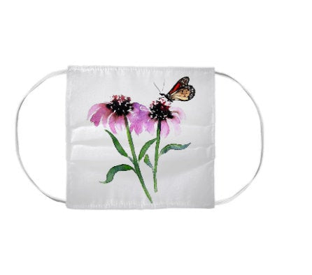 Monarch Butterfly and Echinacea Floral Watercolour Painting - Washable Reusable Fabric Face Mask