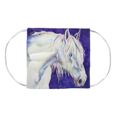 White Horse Equine Watercolour Painting - Washable Reusable Fabric Face Mask