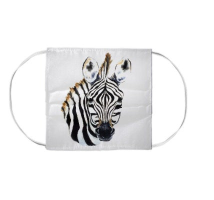 Zebra Horse Equine Wildlife Watercolour Painting - Washable Reusable Fabric Face Mask