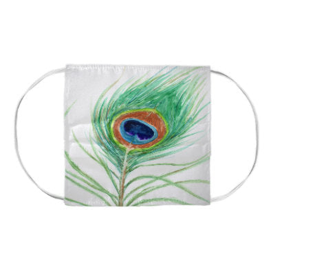 Great Blue Heron Bird Wildlife Watercolour Painting - Washable Reusable Fabric Face Mask