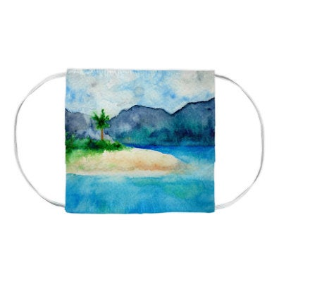 Sandy Cove Seascape Watercolour Painting - Washable Reusable Fabric Face Mask
