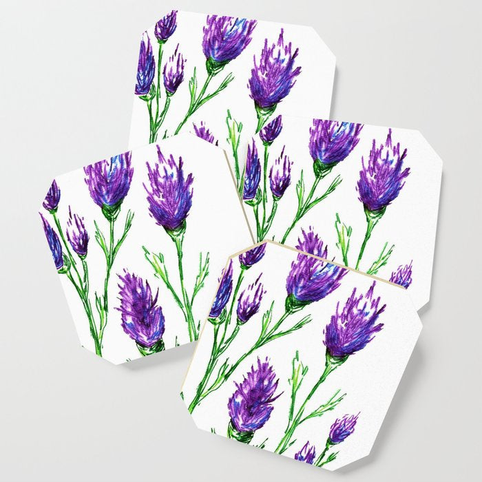 Modern Coasters - Clover Floral Art - Coffee Table Drink Coaster Set