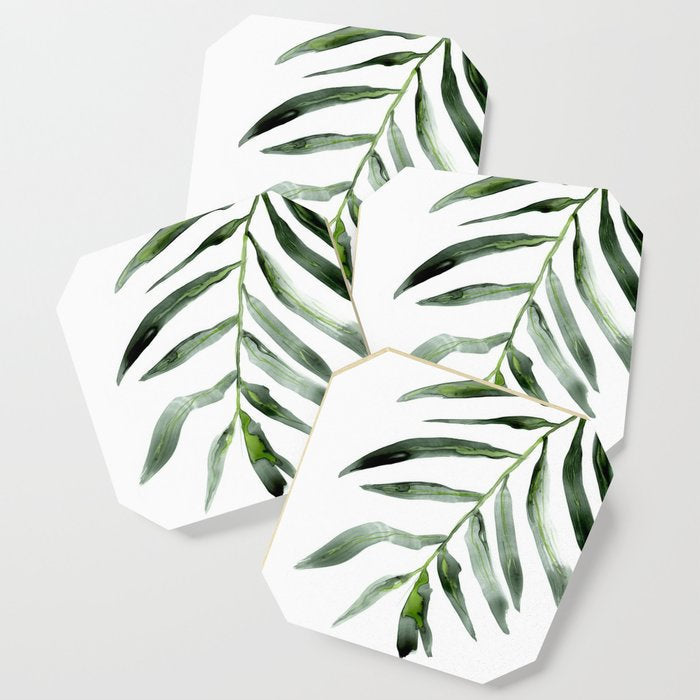 Modern Coasters - Palm Frond Botanical Floral Art - Coffee Table Drink Coaster Set