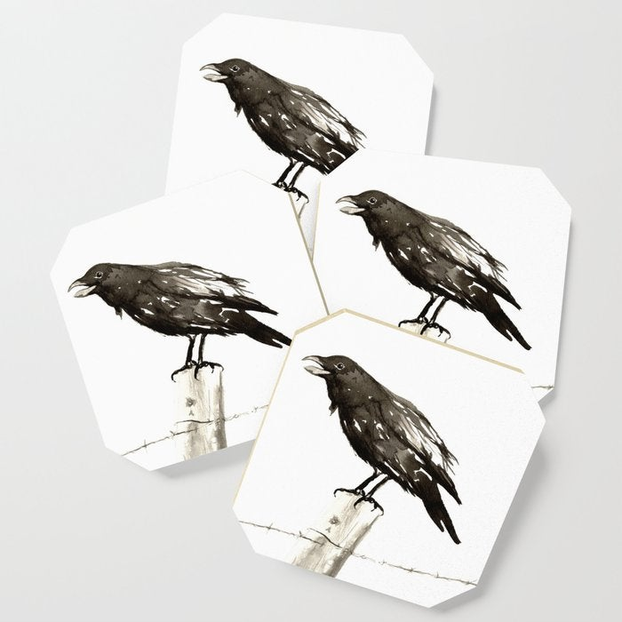 Modern Coasters - Raven Blackbird Art - Coffee Table Drink Coaster Set