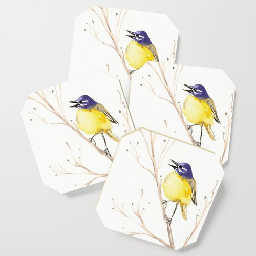 Modern Coasters - Yellow Wagtail Art - Coffee Table Drink Coaster Set
