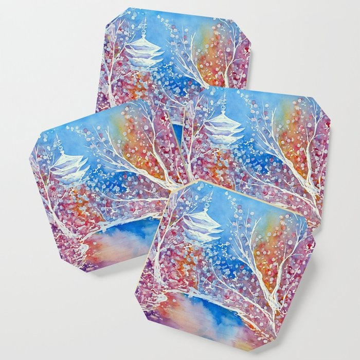 Modern Coasters - Japanese Temple Cherry Blossom Art - Coffee Table Drink Coaster Set
