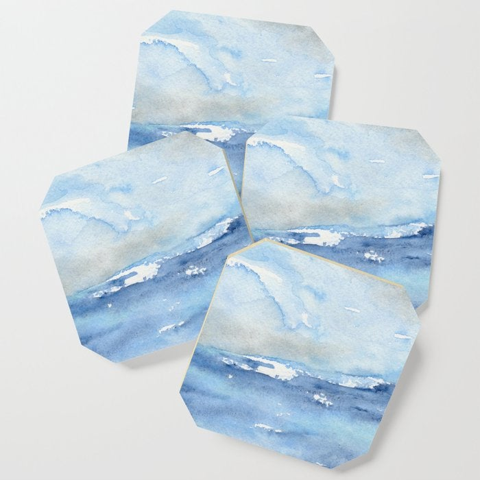 Modern Coasters - Ocean Wave Art - Coffee Table Drink Coaster Set