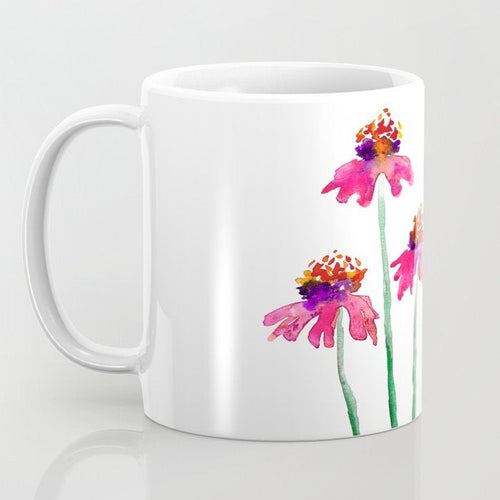 Artistic Echinacea Floral Coffee Mug - Kitchen Decor Mug Drinkware