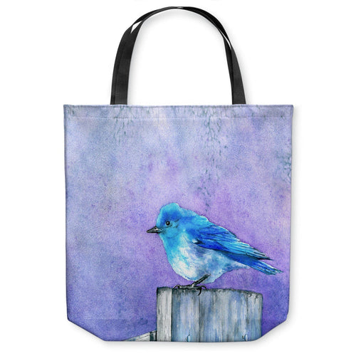 Art Tote Bag - Bluebird Bliss Wildlife Watercolor Painting - Shopping Bag