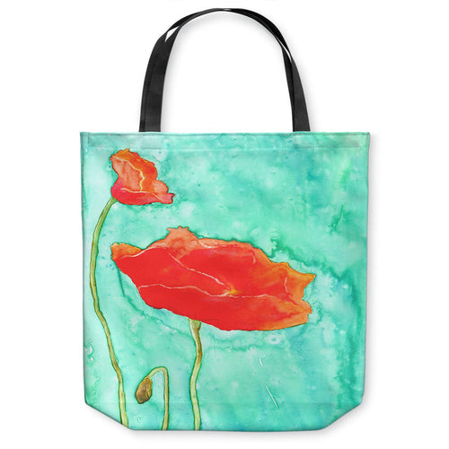 Orange Poppies Tote Bag -  Floral Watercolor Painting - Shopping Bag