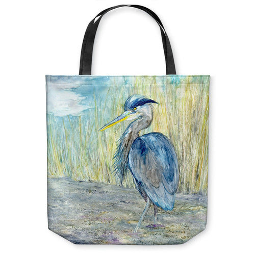Great Blue Heron Tote Bag -  Bird Watercolor Painting - Shopping Bag