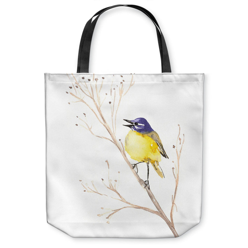 Yellow Wagtail Songbird Tote Bag - Watercolor Painting - Shopping Bag