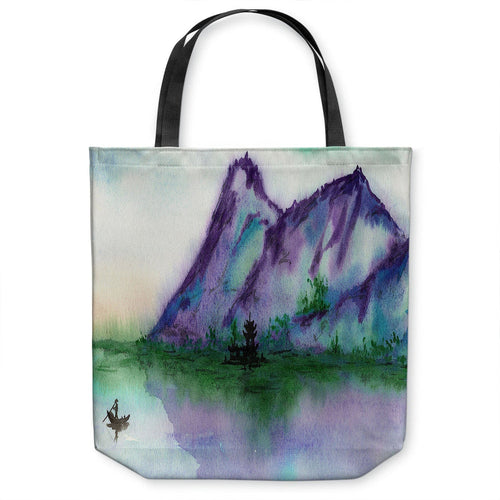 Fishing at Dawn Tote Bag - Watercolor Painting - Shopping Bag