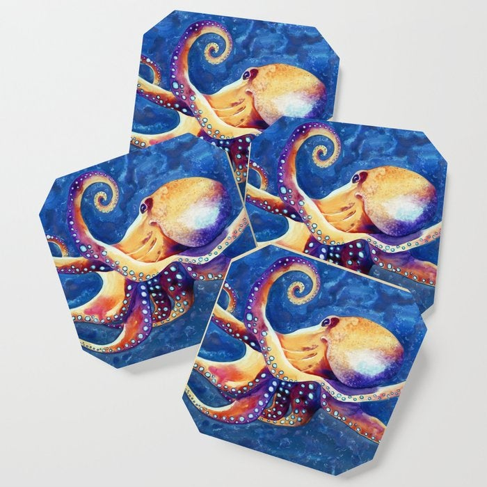 Modern Coasters - Octopus Art - Coffee Table Drink Coaster Set