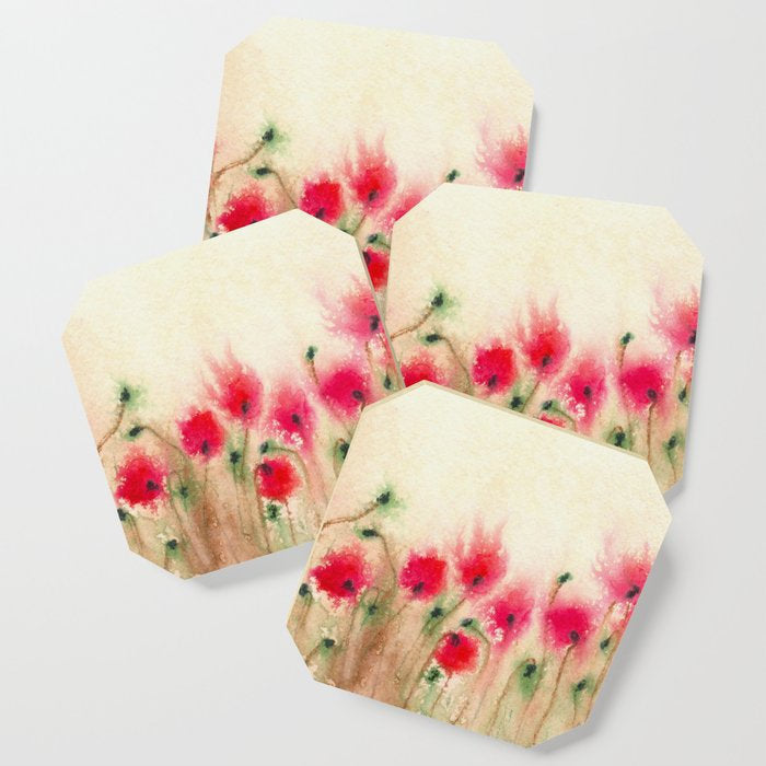 Modern Coasters - Poppies Floral Art - Coffee Table Drink Coaster Set