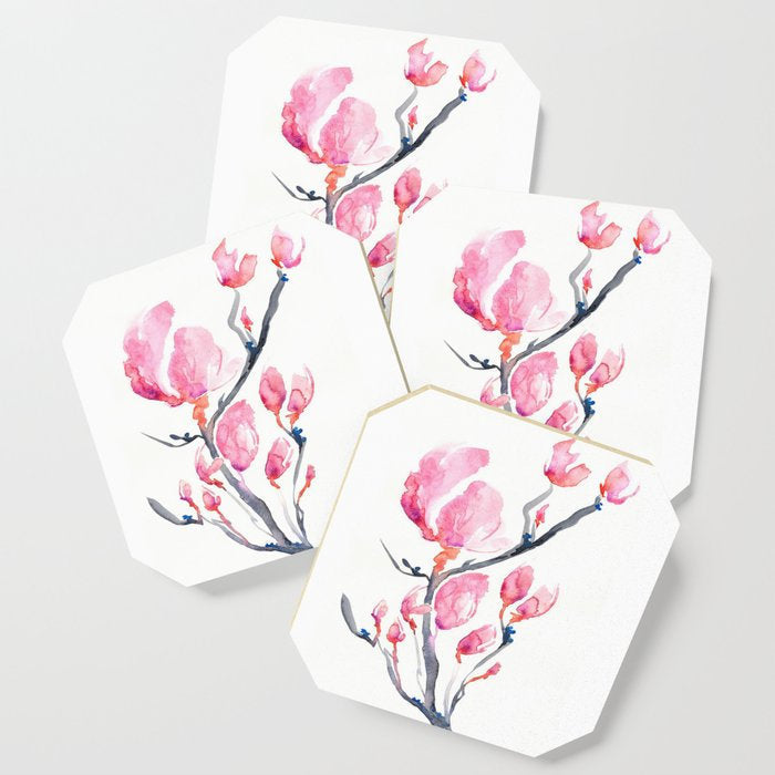 Modern Coasters - Japanese Magnolia Floral Art - Coffee Table Drink Coaster Set