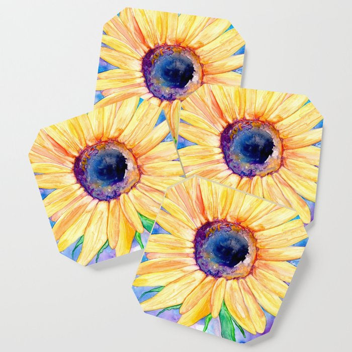 Modern Coasters - Sunflower Floral Art - Coffee Table Drink Coaster Set