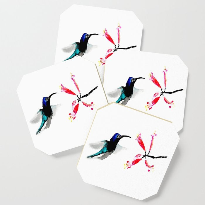 Modern Coasters - Hummingbird Art - Coffee Table Drink Coaster Set