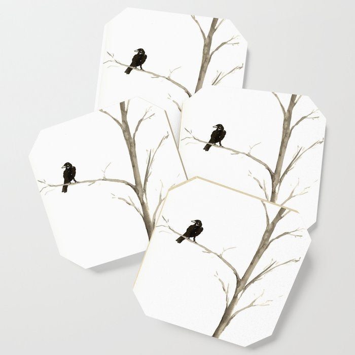 Modern Coasters - Raven in a Tree Art - Coffee Table Drink Coaster Set