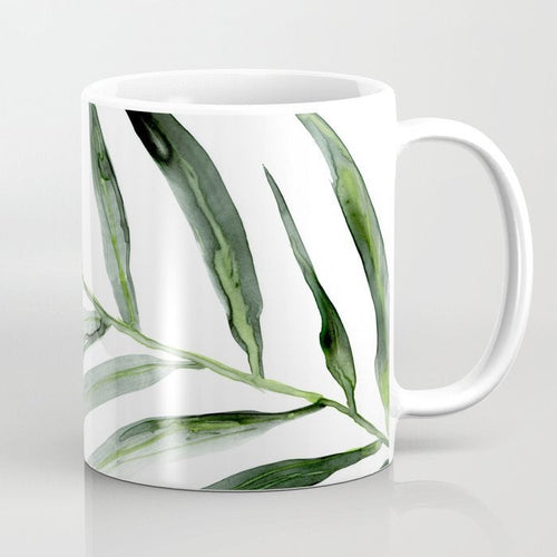 Artistic Palm Frond Botanical Floral Coffee Mug - Kitchen Decor Mug Drinkware