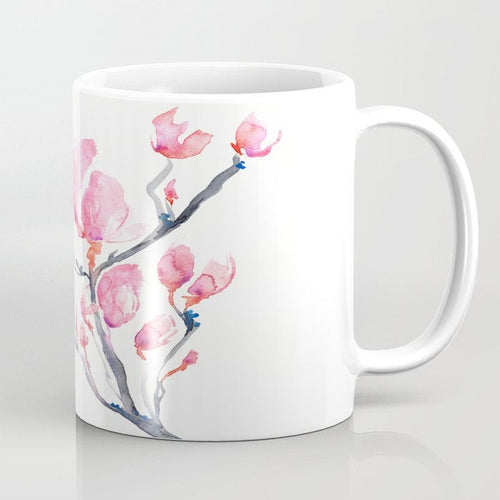 Artistic Japanese Magnolia Botanical Floral Coffee Mug - Kitchen Decor Mug Drinkware