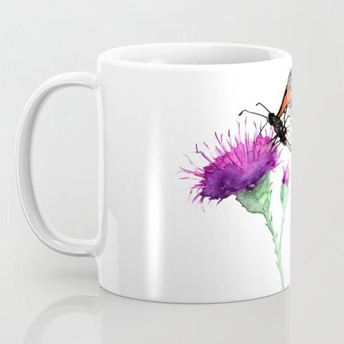 Artistic Monarch Butterfly Botanical Floral Coffee Mug - Kitchen Decor Mug Drinkware