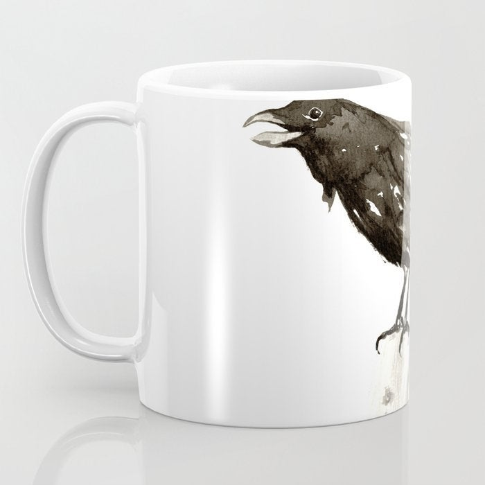 Artistic Raven Black Bird Coffee Mug - Kitchen Decor Mug Drinkware