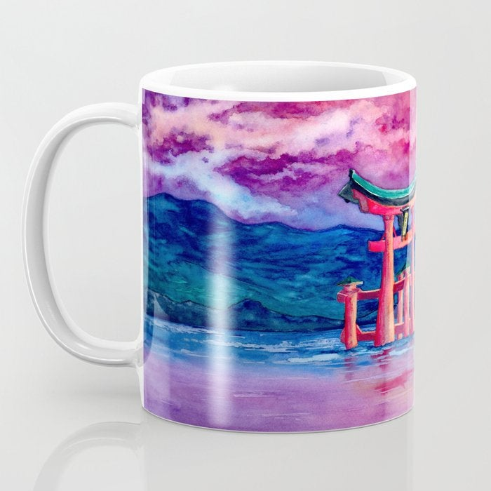 Artistic Japanese Temple Gate Tori Coffee Mug - Kitchen Decor Mug Drinkware
