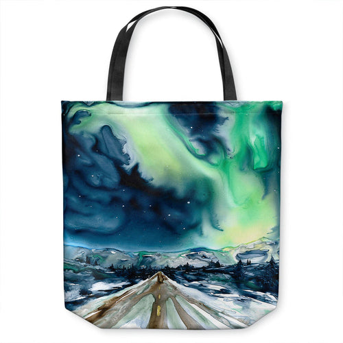 Art Tote Bag - Aurora Borealis Watercolor Painting - Shopping Bag