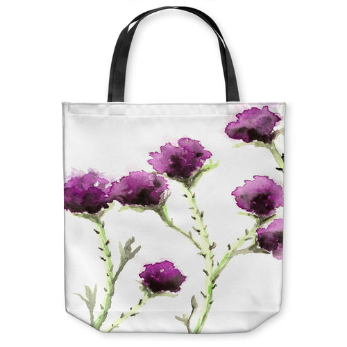 Milk Thistle Art Tote Bag -  Floral Watercolor Painting - Shopping Bag