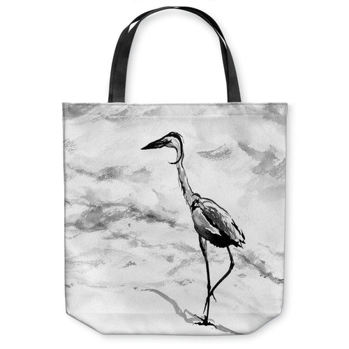 Crane Tote Bag -  Bird Watercolor Painting - Shopping Bag