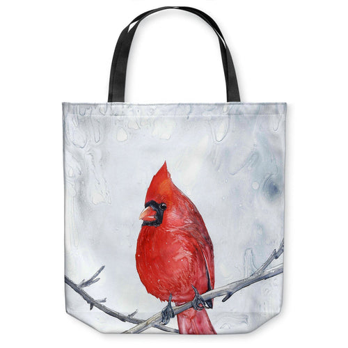 Cardinal Tote Bag -  Bird Watercolor Painting - Shopping Bag
