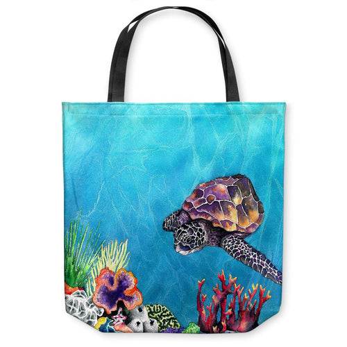 Sea Turtle Ocean Wildlife Tote Bag - Watercolor Painting - Shopping Bag