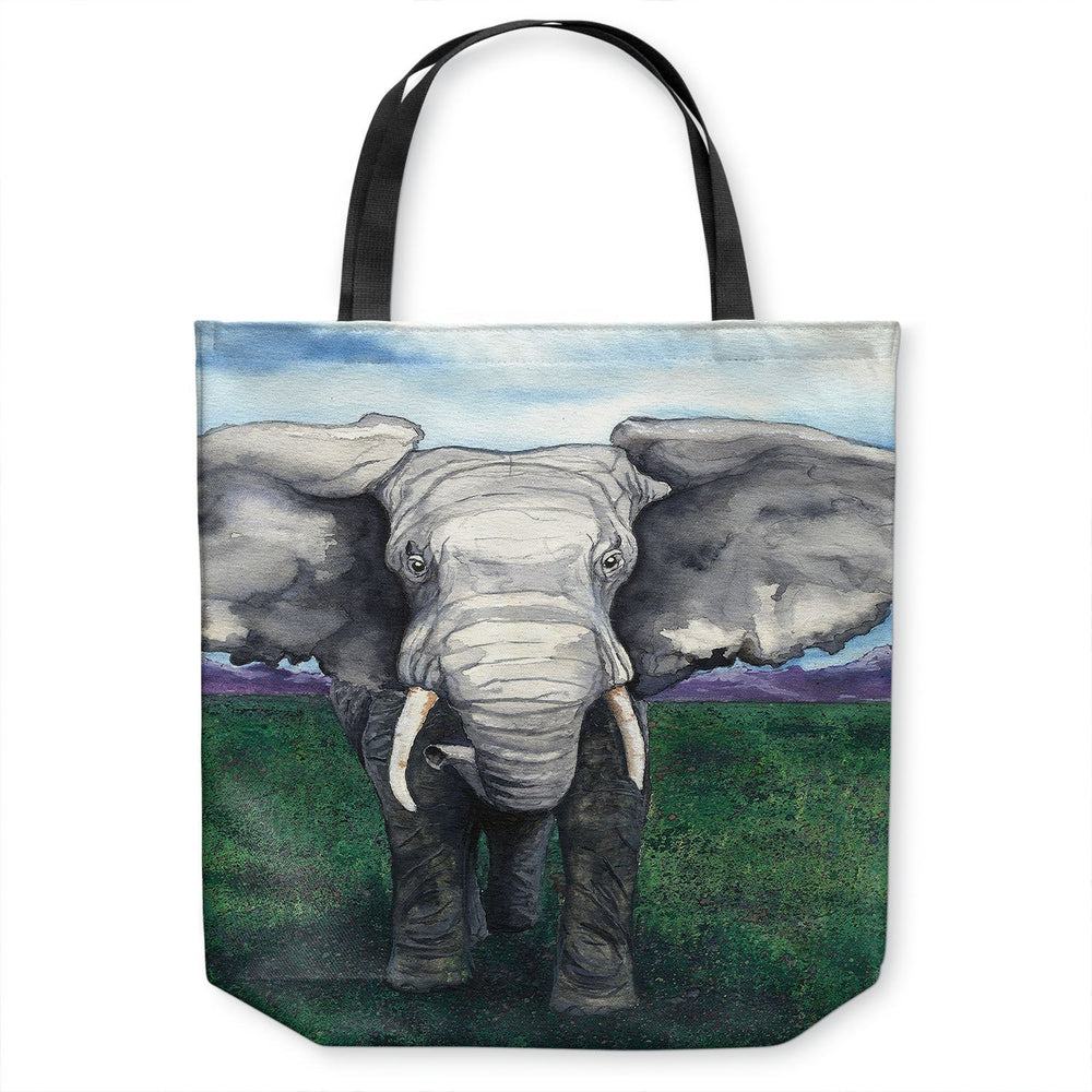 Elephant Wildlife Tote Bag - Watercolor Painting - Shopping Bag