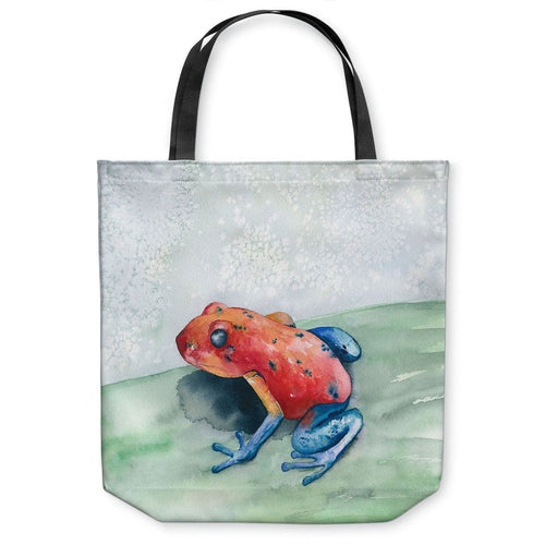 Blue Jean Tree Frog Wildlife Tote Bag -  Watercolor Painting - Shopping Bag