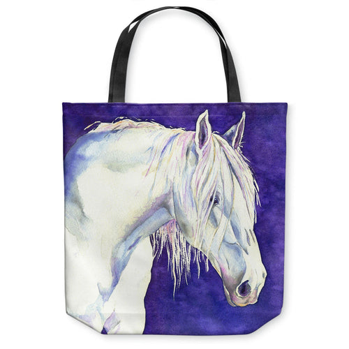 White Horse Equine Tote Bag - Watercolor Painting - Shopping Bag