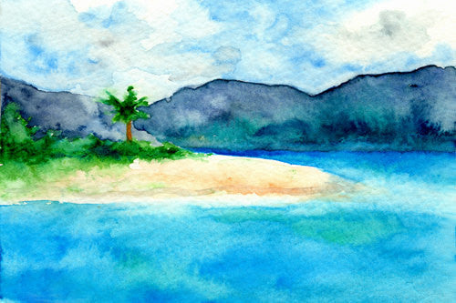 Art Print - Sandy Cove Caribbean Seascape - Watercolor Painting - Brazen Design Studio