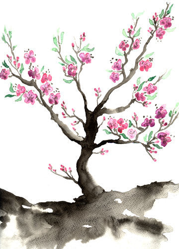 Watercolor Painting - Sakura Tree Cherry Blossom Art Nature Sumi-e Art Print - Brazen Design Studio