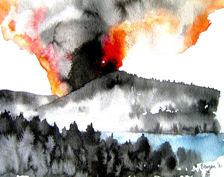 Ink Painting - Forest Fire - Mountain Landscape Sumi e - Japanese Brush Painting - Art Print - Brazen Design Studio