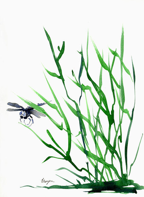 Watercolor Painting - Dragonfly Art - Minimalist Nature Sumi-e Art Print - Brazen Design Studio