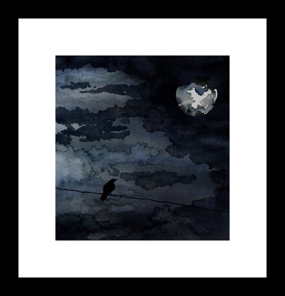 Watercolor Painting - Moonlit Raven - Full Moon Night Sky Bird Art Print - Brazen Design Studio