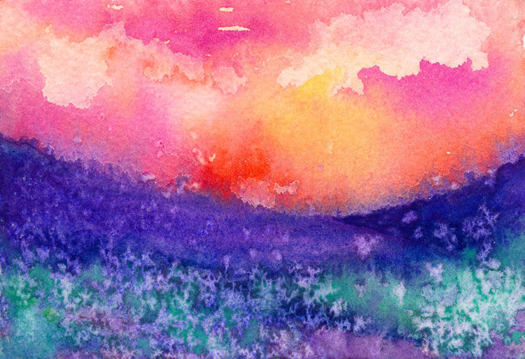 Watercolor Landscape Painting - Lupin Valley Landscape Scenic Art Print - Brazen Design Studio
