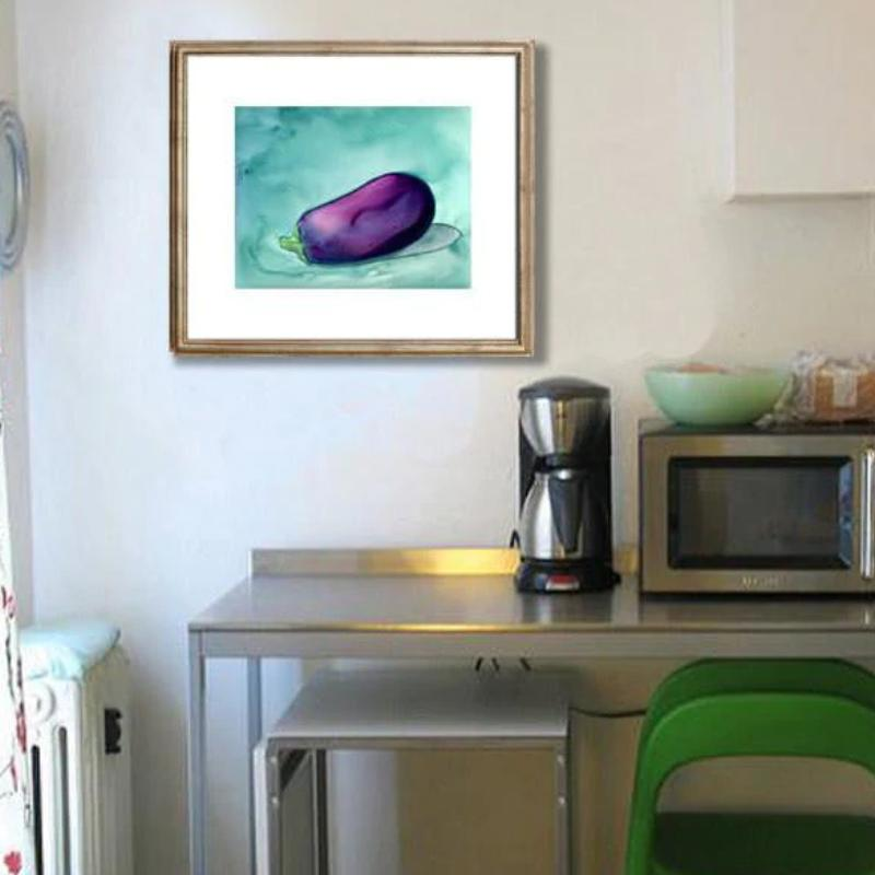 Original Watercolour Painting on Yupo - Aubergine Eggplant - Still Life Fruit Food Art - Brazen Design Studio