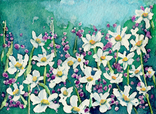 Watercolor Painting - Dancing Daisies Field of Wildflowers - Landscape Art Print - Brazen Design Studio