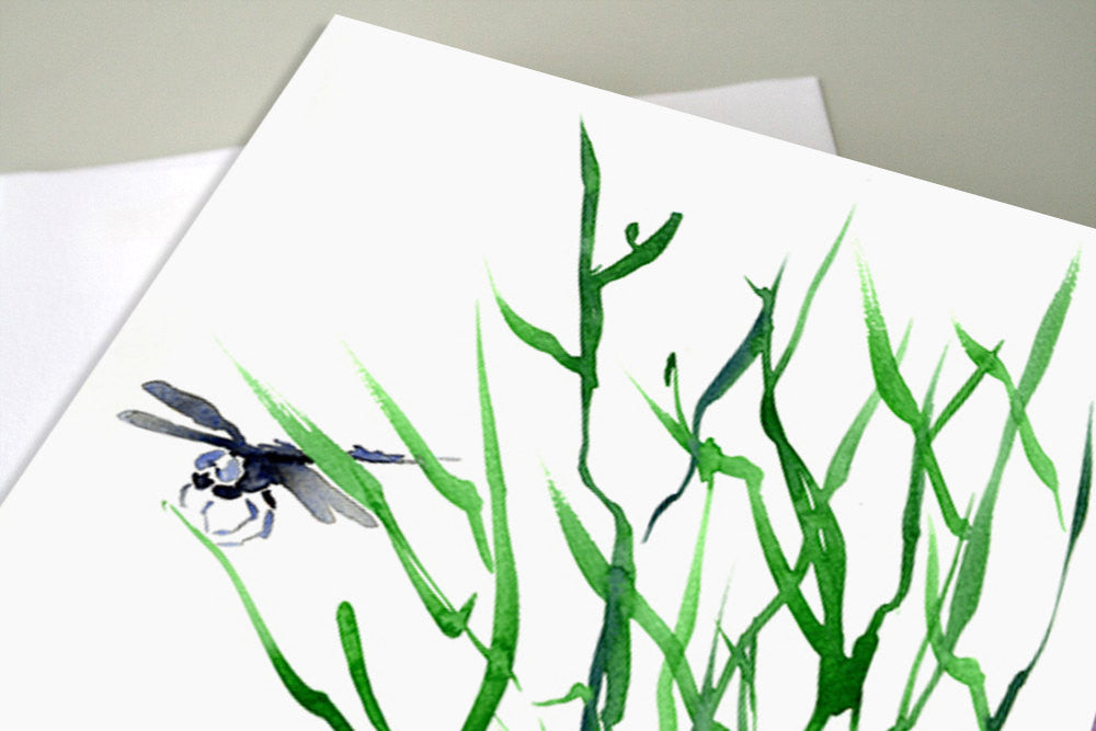 Dragonfly Greeting Art Card - Nature Bug Insect Sumi-e - Brazen Design Studio